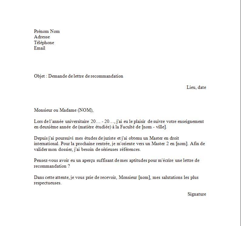 exemple lettre demande