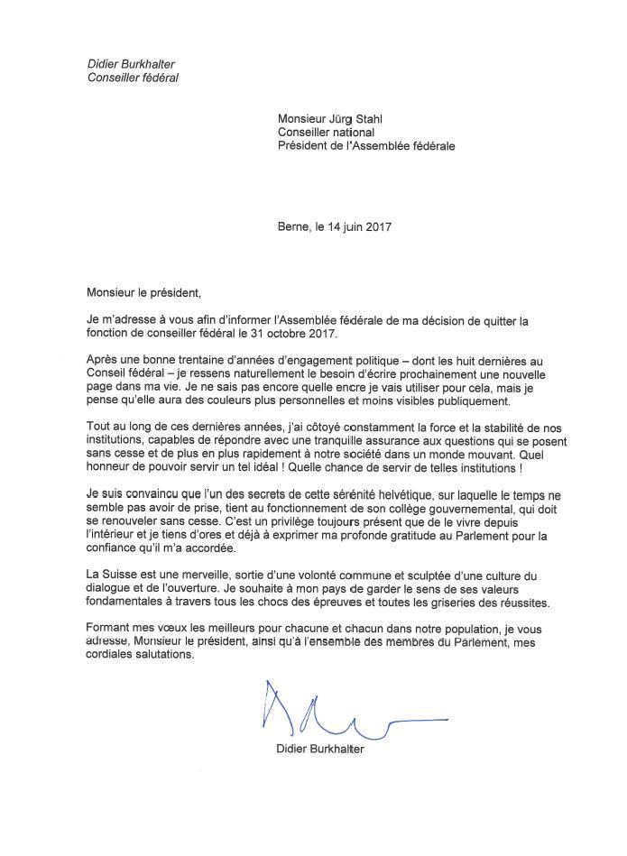 exemple lettre demission suisse - Modele de lettre type