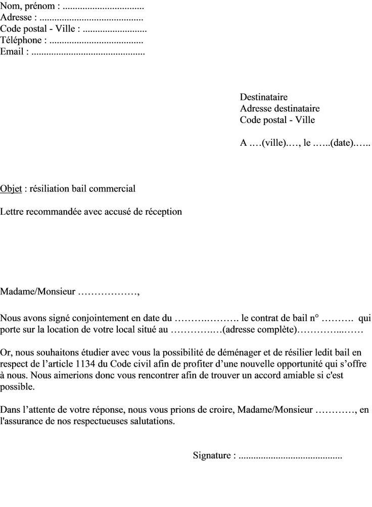 exemple lettre renon bail