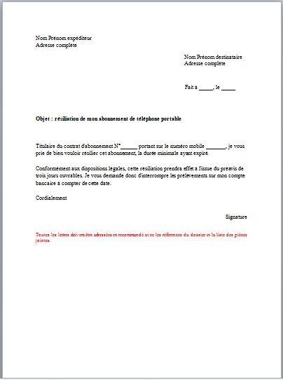 exemple lettre resiliation abonnement telephone