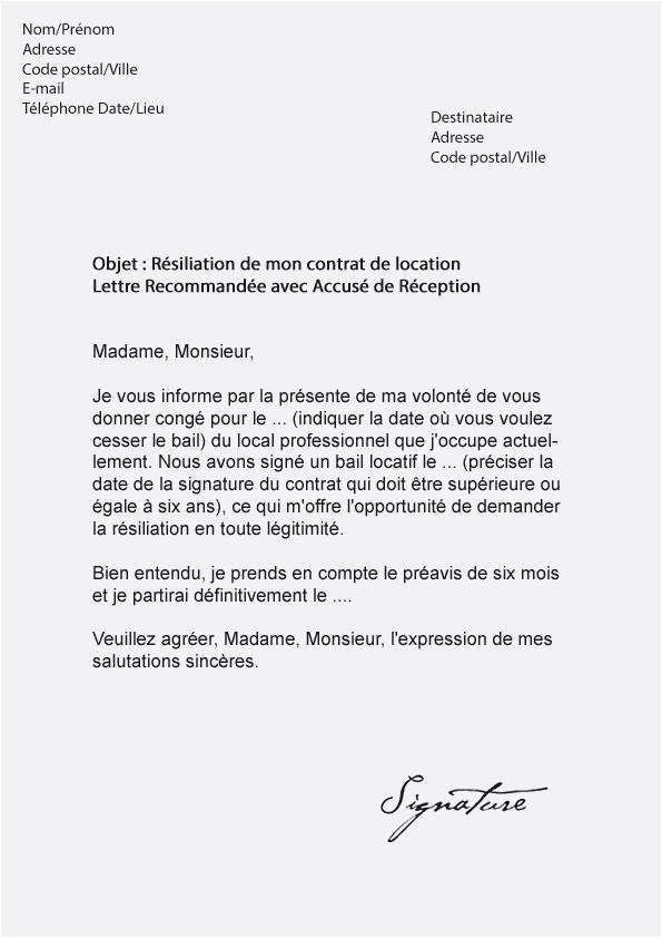 exemple lettre resiliation bail 1 mois - Modele de lettre type