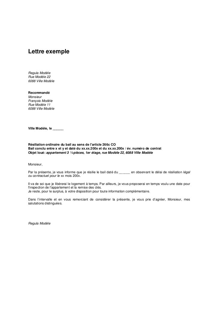 exemple lettre resiliation bail appartement
