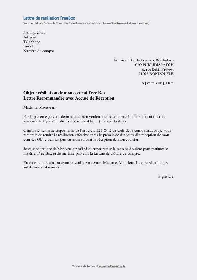 Exemple Lettre Resiliation Canal Plus Modele De Lettre Type