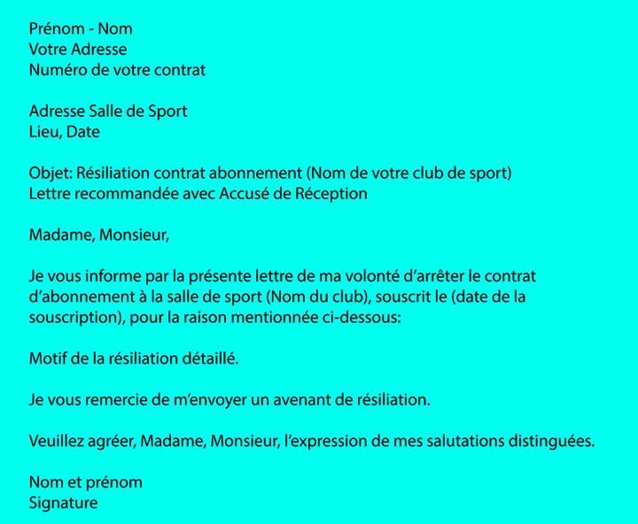 exemple lettre resiliation salle de sport