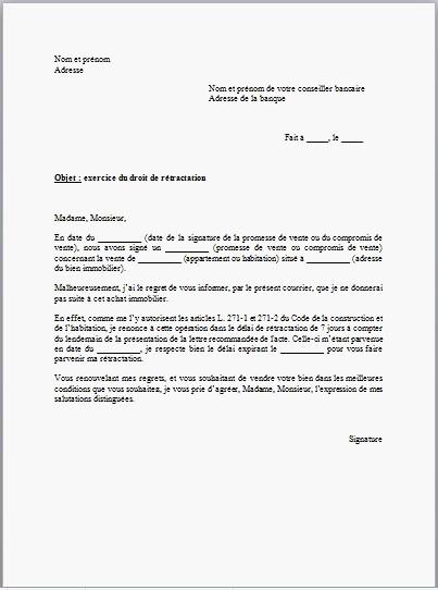 exemple lettre retractation compromis de vente