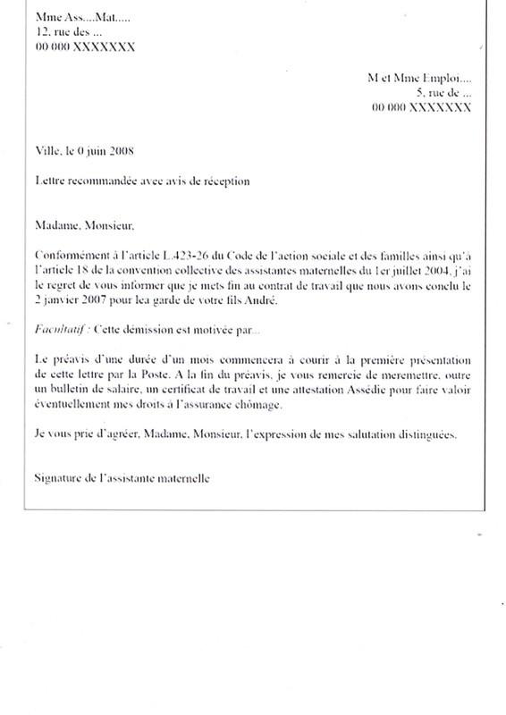 exemple lettre rupture de contrat de travail