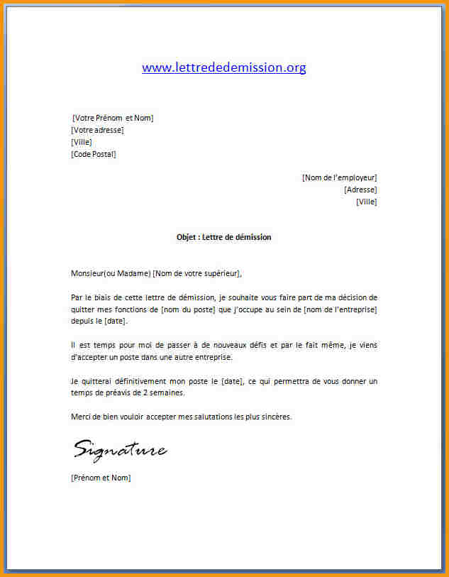 exemple lettre type