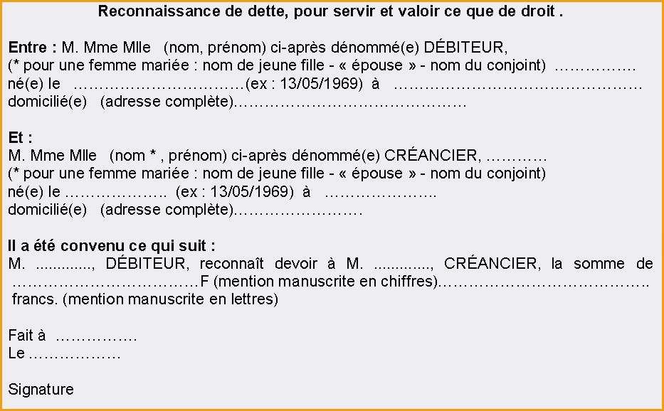 exemple reconnaissance de dette pdf