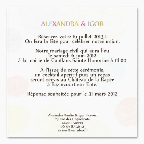 exemple reponse faire part mariage