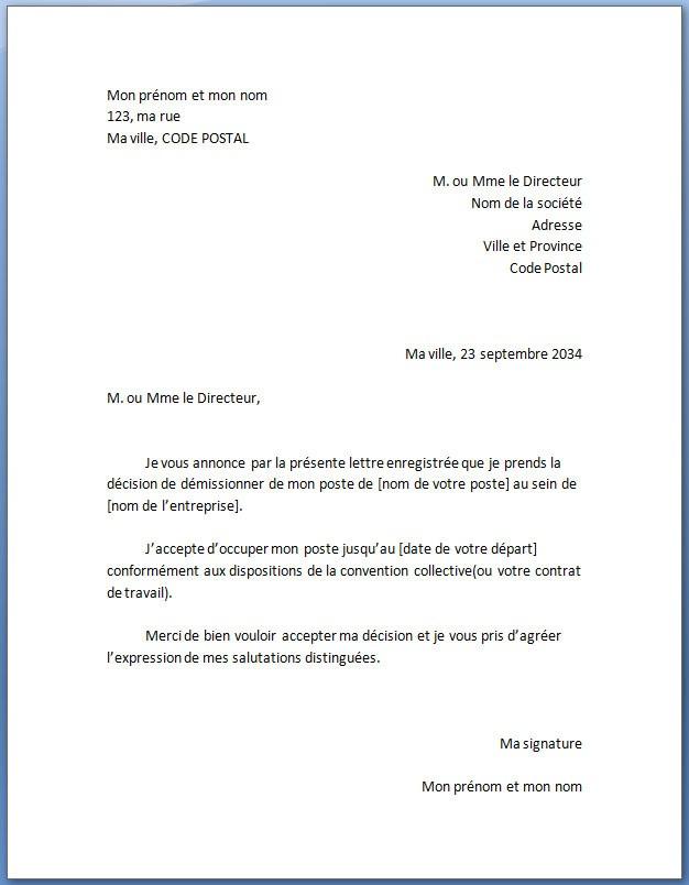 exemple type de lettre
