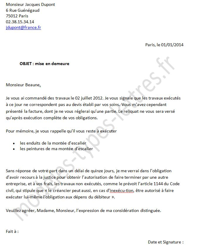 exemple type lettre
