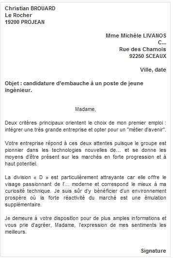 exemples de lettre de motivation candidature spontanee