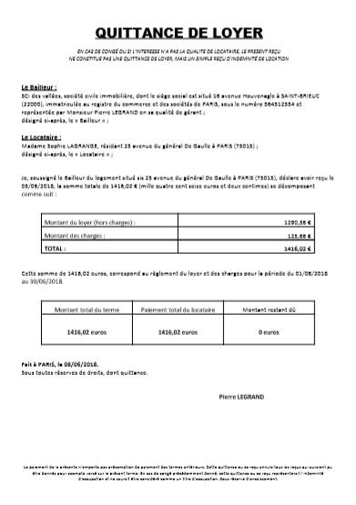 exemples quittances loyer - Modele de lettre type
