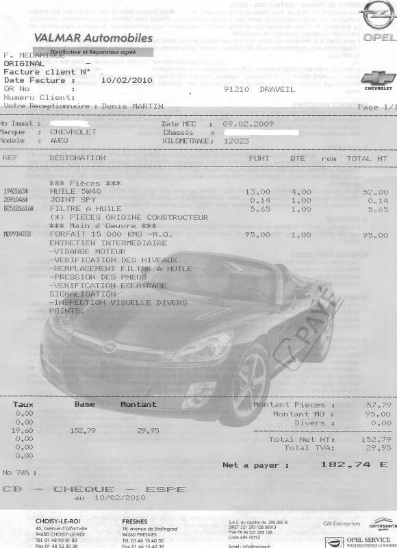facture garage automobile modele