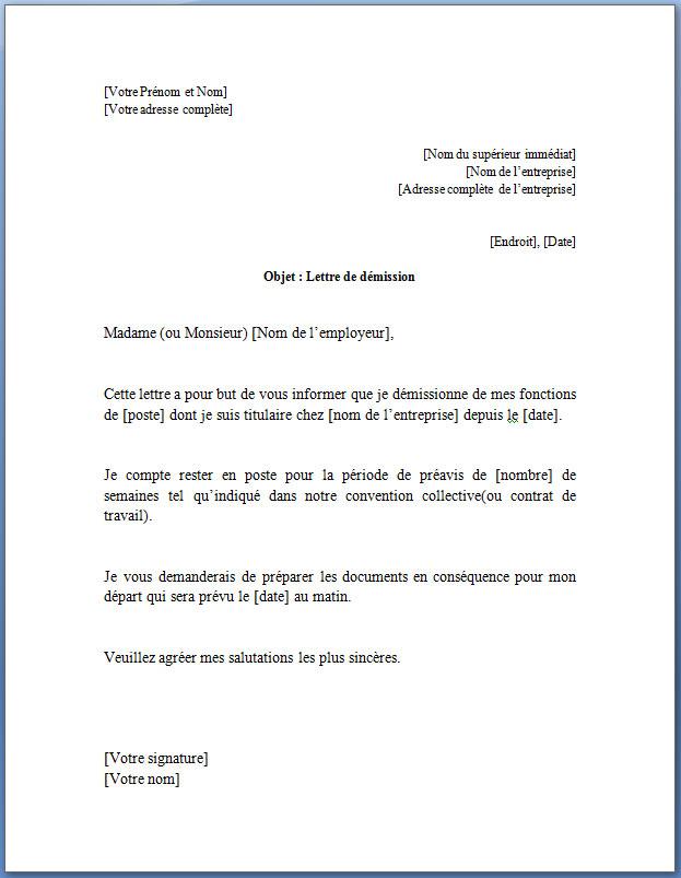 faire une lettre de demission