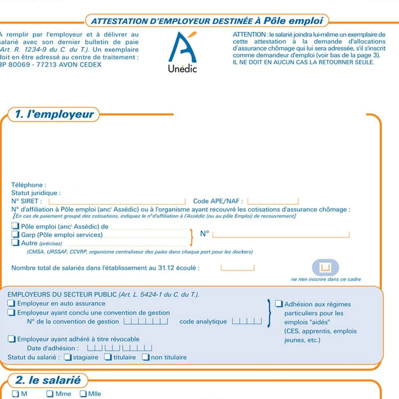feuille d'attestation assedic