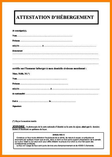 formulaire attestation d'hebergement - Modele de lettre type