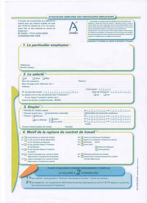 Formulaire Attestation Employeur Assedic Modele De Lettre Type