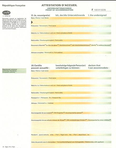 formulaire certificat hebergement