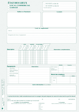 formulaire etat des lieux appartement suisse