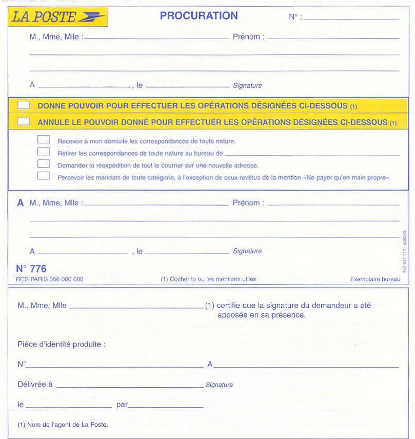 formulaire procuration la poste