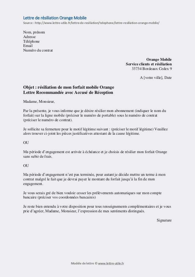 Formulaire Resiliation Free Mobile Pdf Modele De Lettre Type