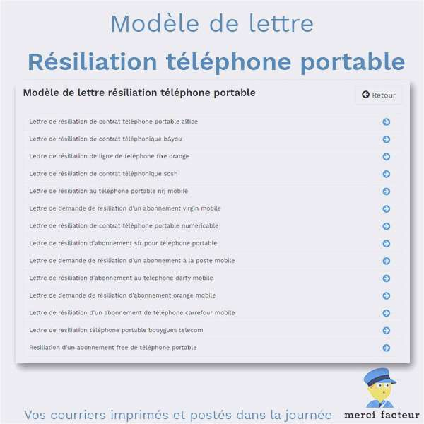 free resiliation lettre