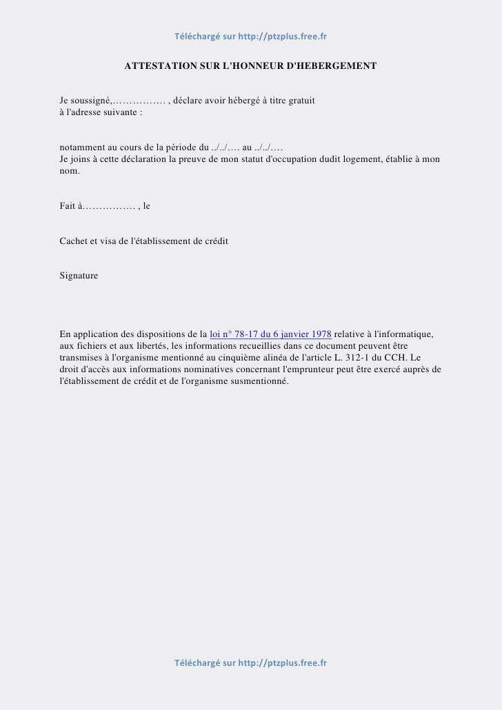 imprimer attestation d u0026 39 hebergement