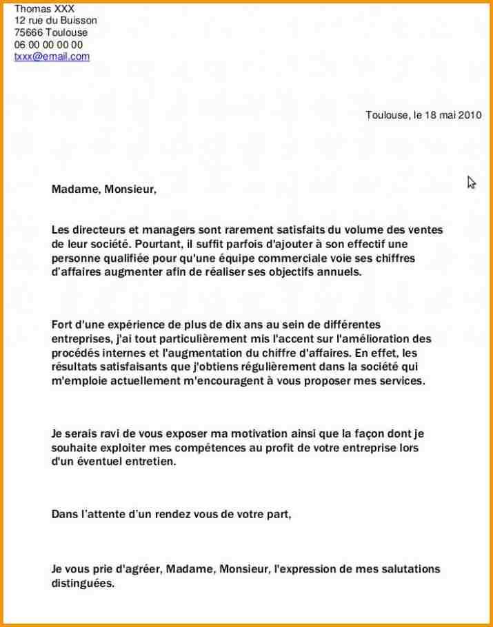 la lettre de demande d'emploi exemple