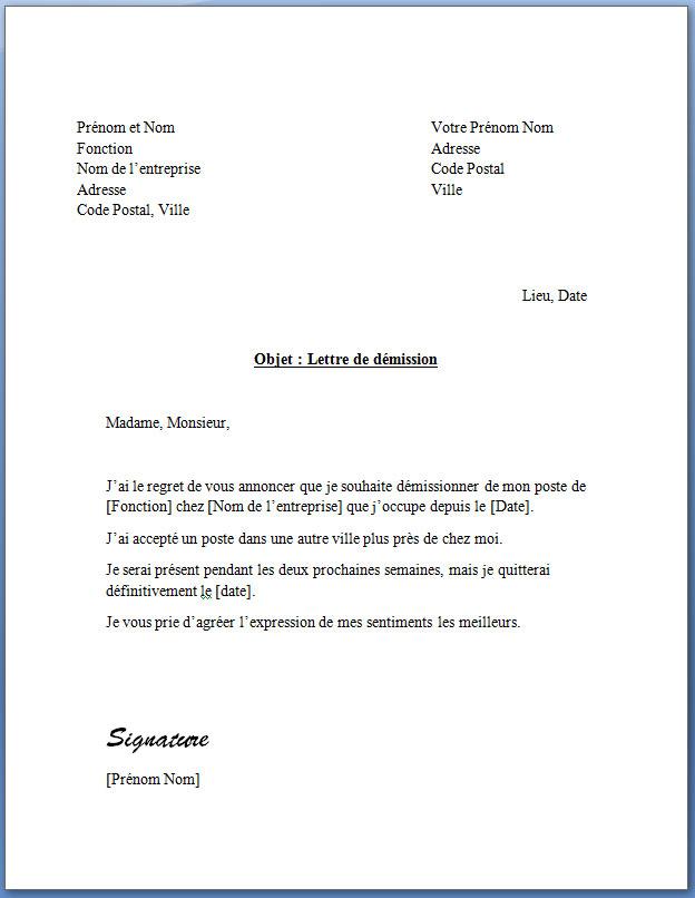 les lettres de demission