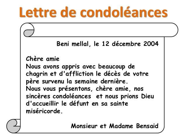 lettr de condoleances
