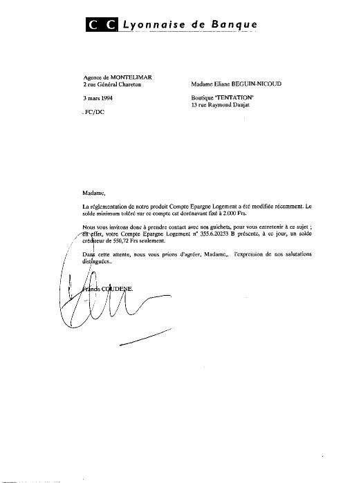 lettre a la banque