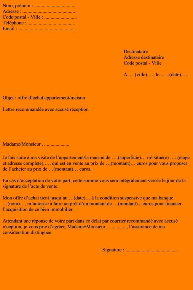 lettre acceptation offre d u0026 39 achat maison