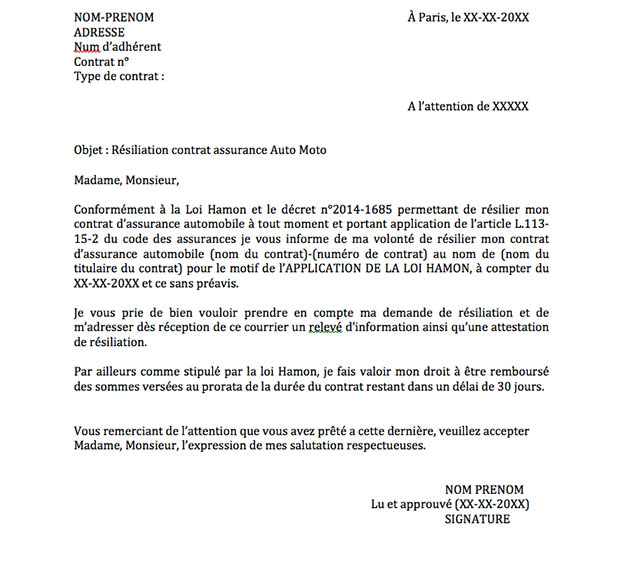 lettre annulation assurance