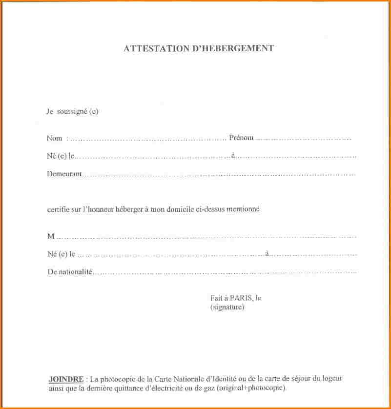 lettre attestation hebergement gratuit