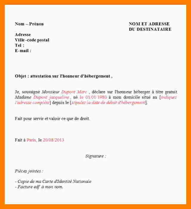 lettre attestation hebergement