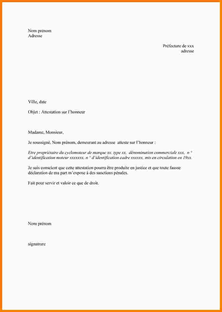 Exemple De Declaration Sur L Honneur Modele De Lettre Type