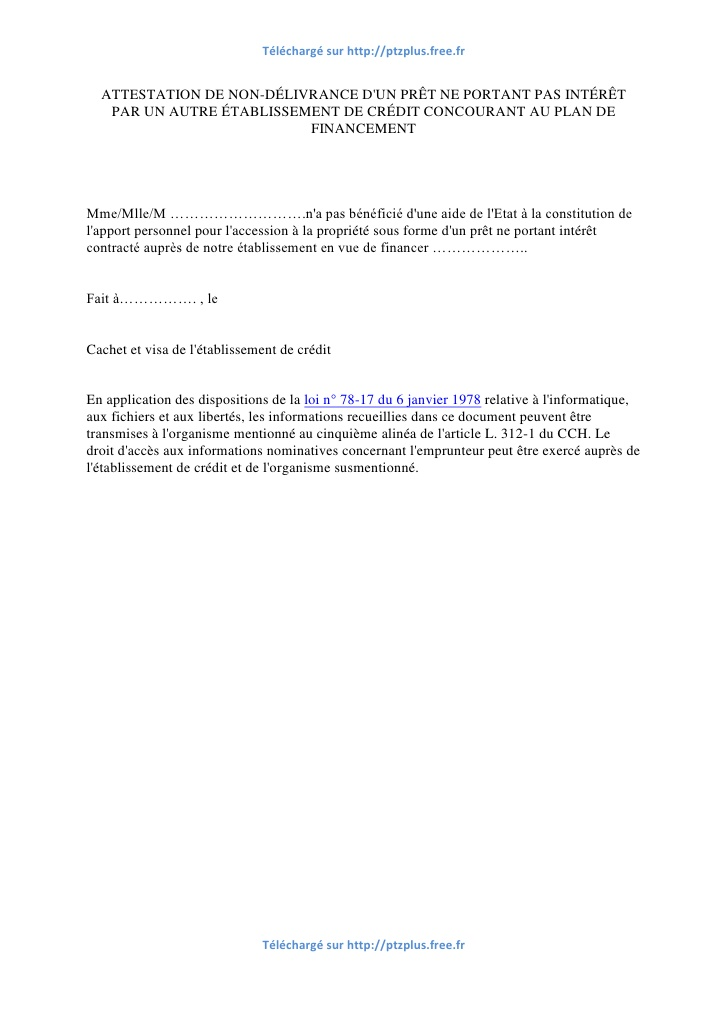 lettre attestation sur l'honneur de non ressource