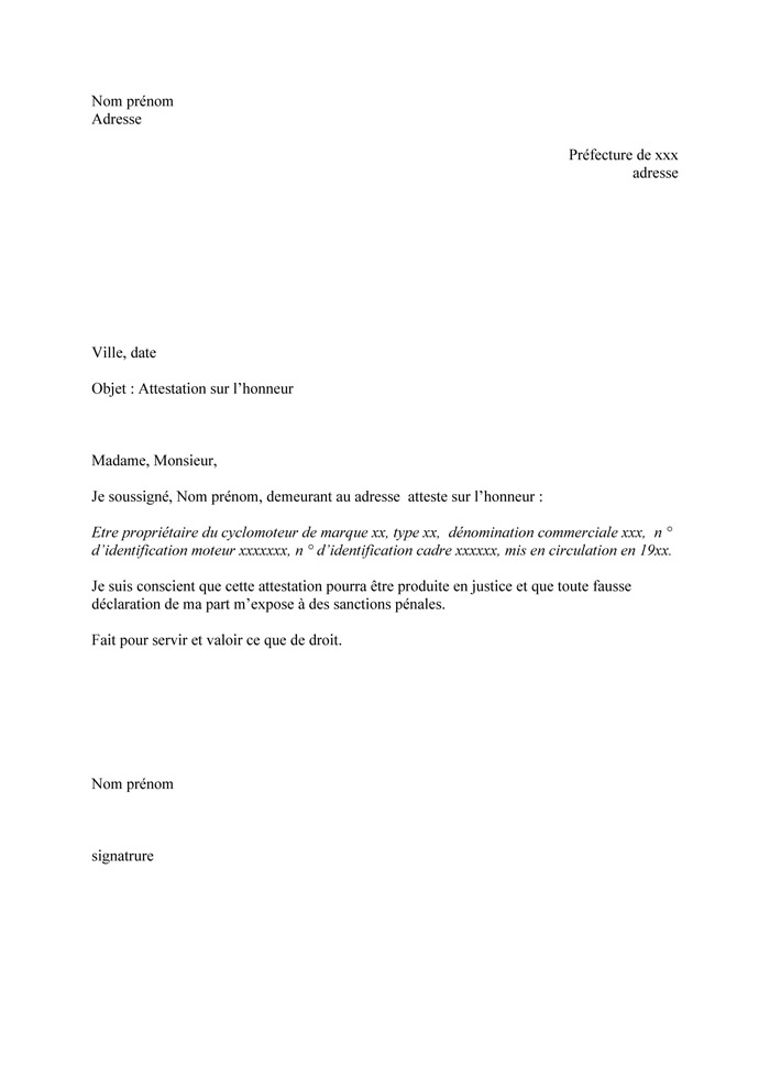 lettre attestation sur l'honneur