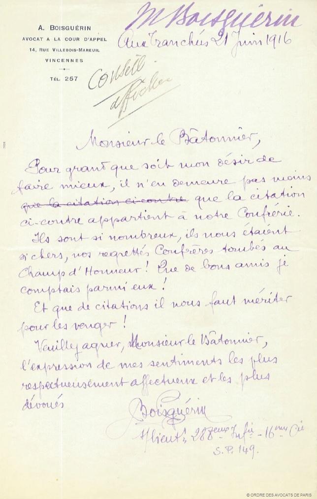 lettre au batonnier