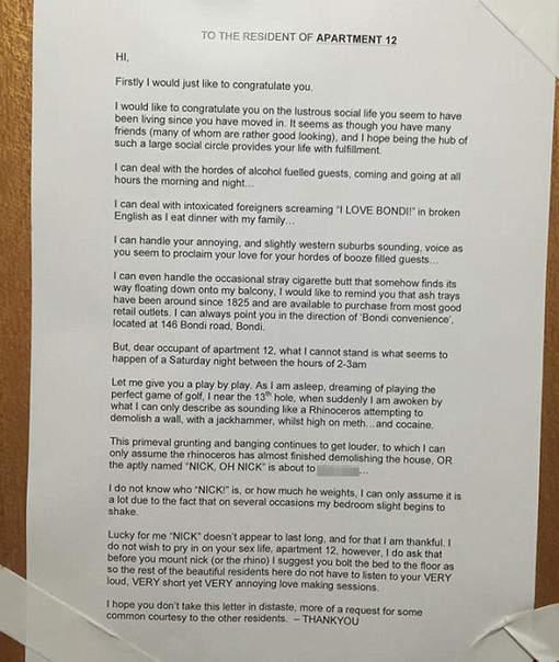 lettre au voisinage