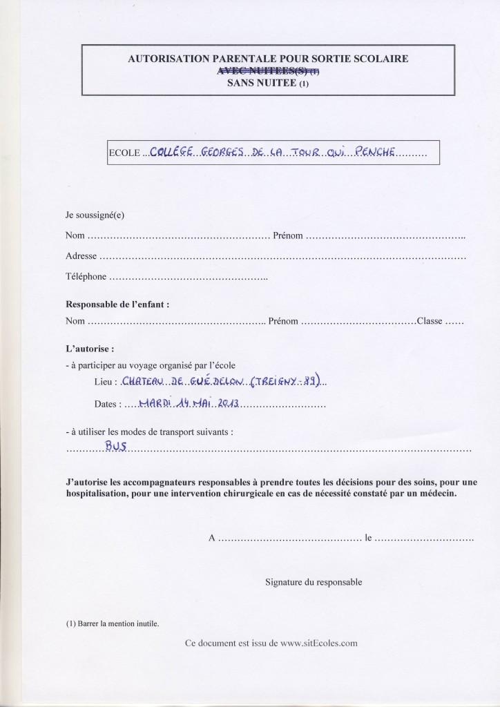 lettre autorisation parentale sortie scolaire