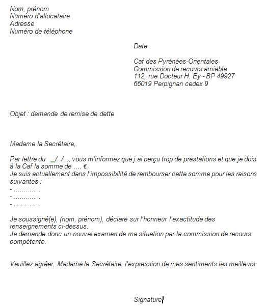 lettre caf