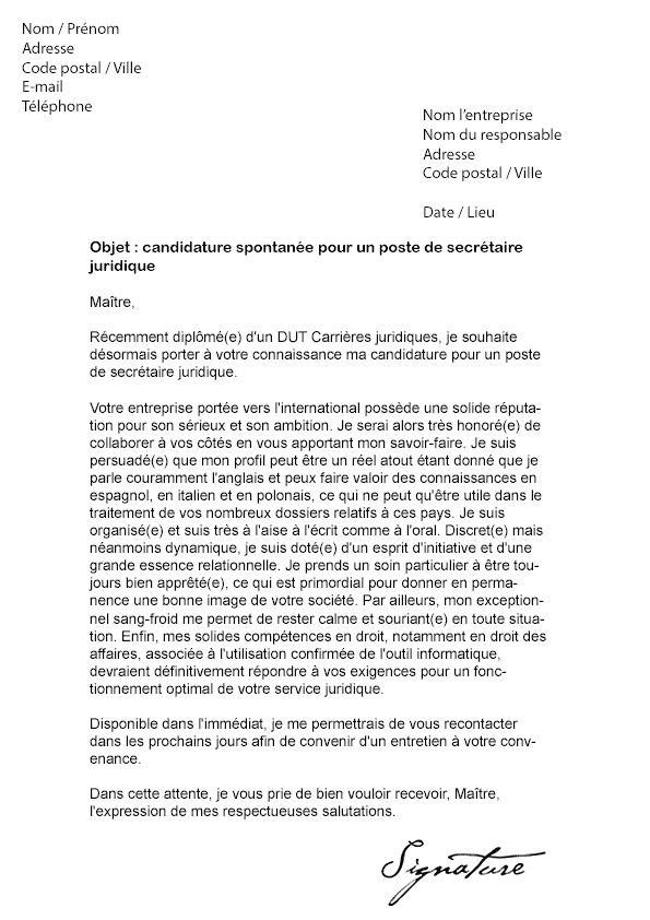 lettre candidature spontanee secretaire medicale - Modele ...