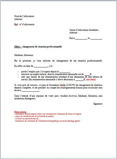 lettre changement d'adresse employeur
