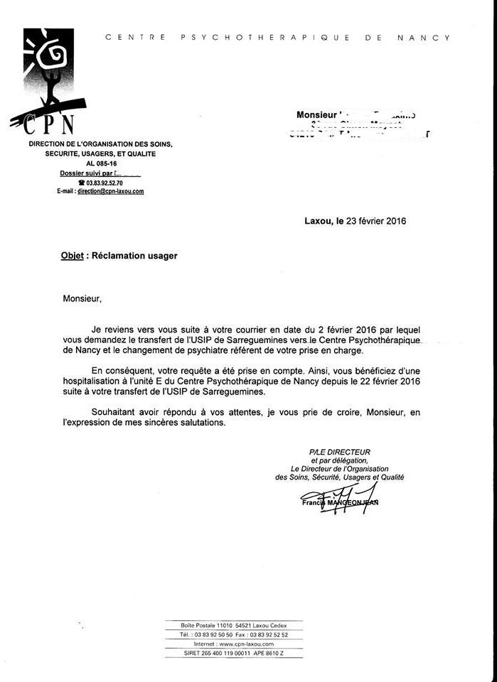 lettre changement service