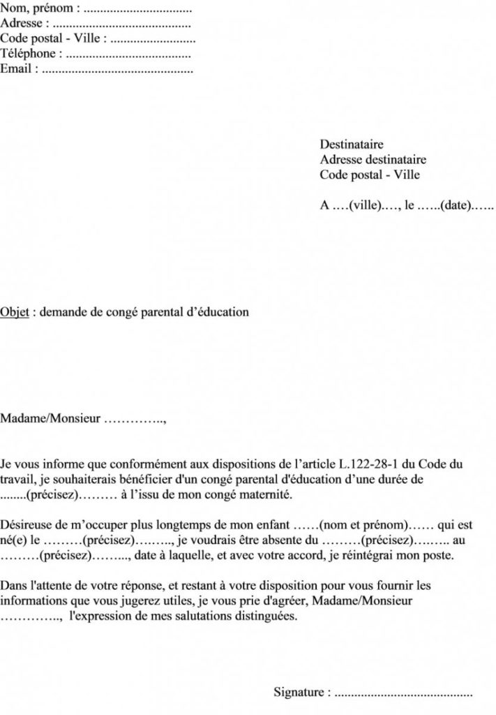 lettre conge parental d'education