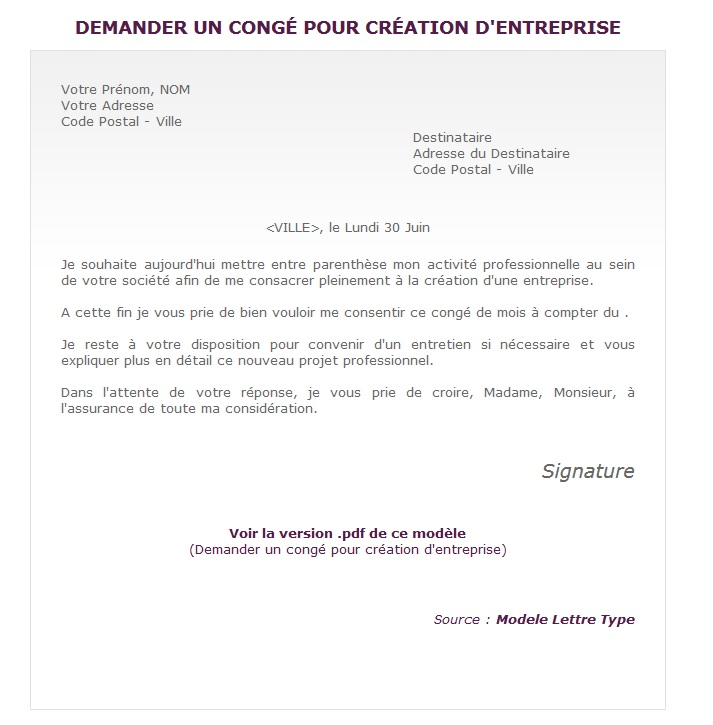 lettre conge paternite
