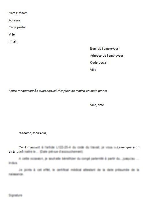 lettre conges payes employeur
