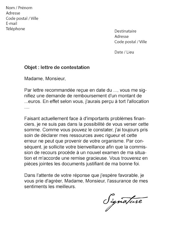 lettre contestation caf